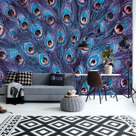 "Easy to apply wallpaper ""Peacock feathers blue and purple"""